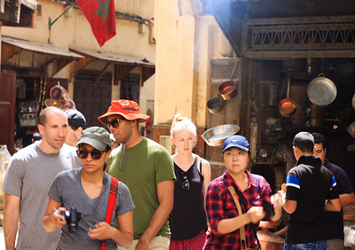 Joe, Brad, Charu, Barb, and a random blond girl. Fes, Medina