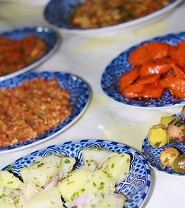 Lots of yummy Moroccan mezze, Fes