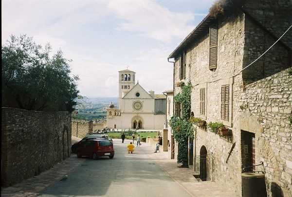 The Basilica of San Francesco, one of Italy's foremost monuments, was built between 1228 and 1253 AD.  In the rolling hills of Umbria, stands the exceptionally well-preserved medieval town of Assisi. Known primarily as the birthplace of St. Francis (1182-1226 AD), the town has been a sacred place since long before the Franciscan era.