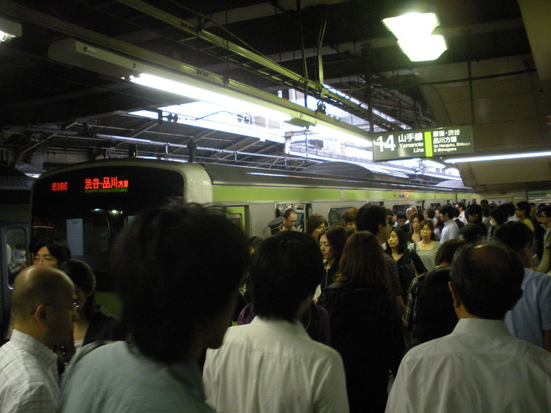 Shinjuku Station.  It is not rush hour, its a little after 9.  People go to work later here.