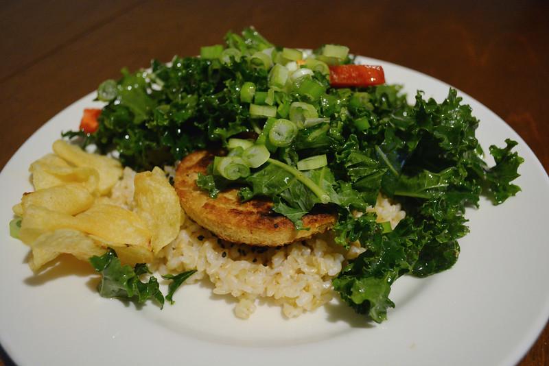 """Emily made a kale """"Moco"""", imitating a Hawaiian dish."""