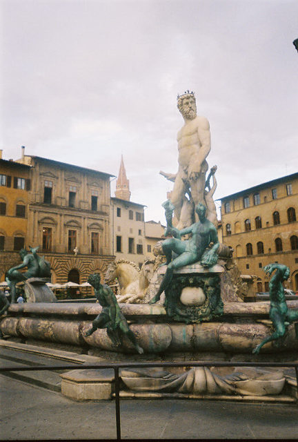 In the Piazza della Signoria.  This is the Fontana di Nettuno (Fountain of Neptune).  The Roman sea god is surrounded by water nymphs.  Quite impressive.  (circa 1575).