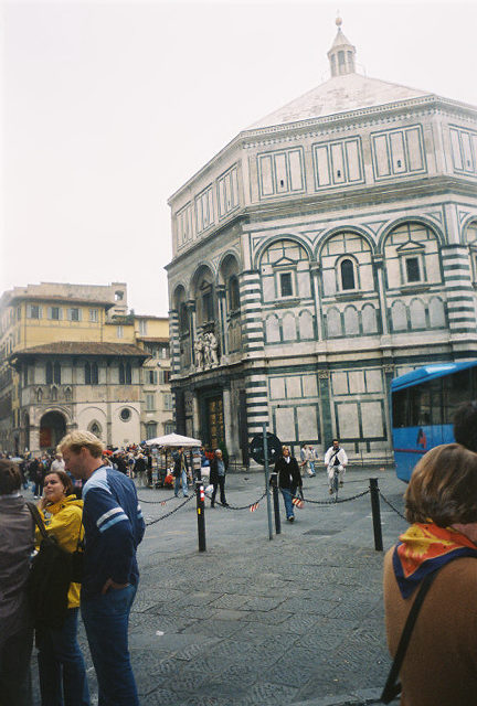 The octagonal baptistery of San Giovanni, facing the cathedral, dates mainly from the 11th to the 15th century, although some parts were built as early as the 5th century; it is noted for doors of gilded bronze, especially the east door, called the Gate to Paradise, which was executed by the Florentine goldsmith Lorenzo Ghiberti and depicts sculpted scenes from the Old Testament.