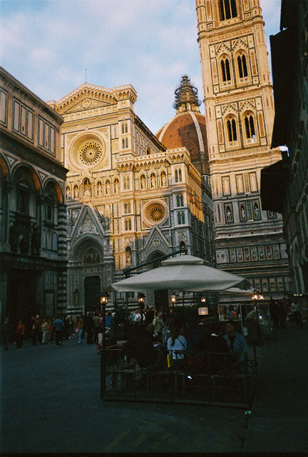 You could even have a cup of espresso or lunch right beside the Duomo.