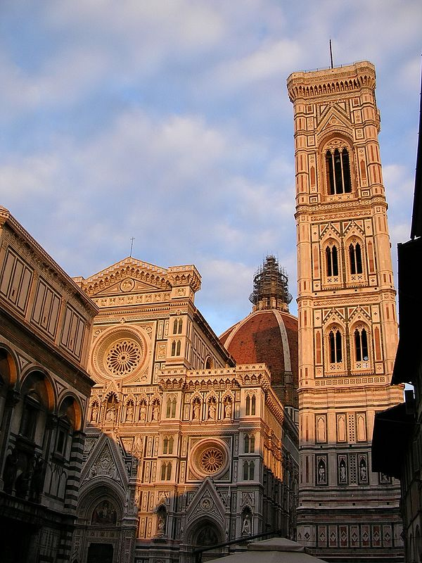 The Cathedral of Santa Maria del Fiore.  The famous Doumo.  The cathedral is the most imposing structure on the right bank of the Arno. Beside the cathedral stands the 14th-century campanile, or bell tower, which was begun by Giotto and continued by Andrea Pisano.