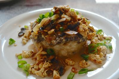 Loco Moco at Downbeat Diner. Veggie burger, veggies and sauce over rice. Delicious!