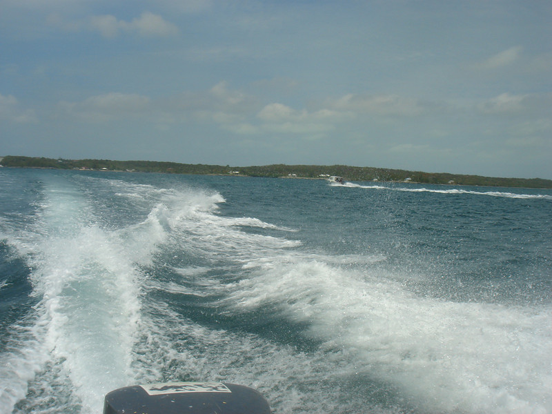 """""""Water Taxi"""" ride from Three Island Dock to Harbour Island."""