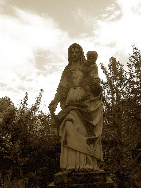 A statue of the Virgin Mary on the monastery grounds.  It was beautiful and stopped us in our tracks.