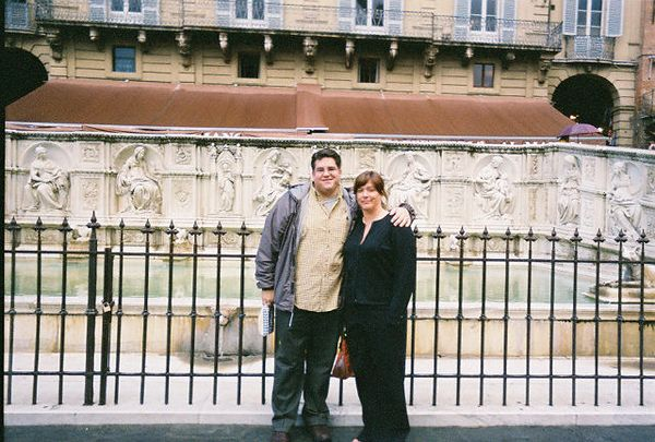 Bill & Angie in front of the Fonte Gaia (circa 1420).