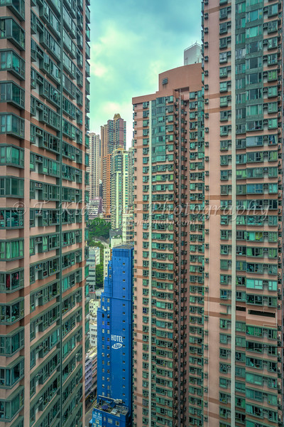 A concrete jungle of tall buildingsd on the island of Hong Kong, China, aisa.