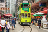 A street tram in the North Point Chun Yeung street wet market in Hong Kong, China, Asia.