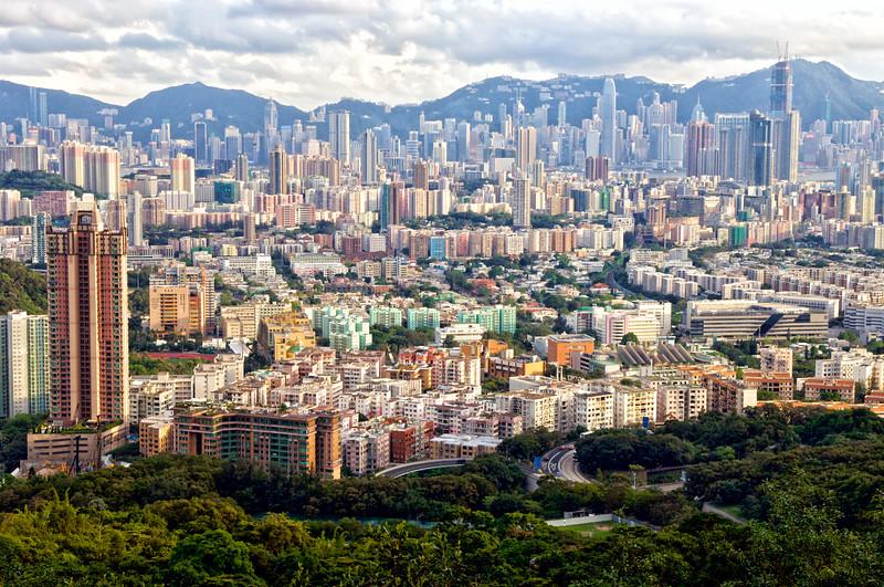 La ville de Hong Kong vue du Lion Rock Country Park. Hong Kong/Chine