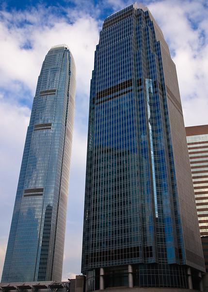 International Finance Center 1 (tall building in background) and International Finance Center 2 (short building in foreground)
