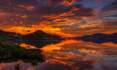 Sunrise as seen from Luk Kang, Hong Kong
