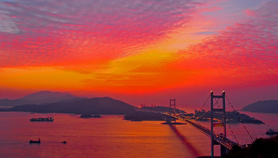 Sunset over Tsing Ma Bridge, Hong Kong