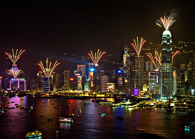 2008 New Year Firework over Victoria Harbour, Hong Kong