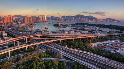 Hong Kong at sunset time, from Lai Chi Kok