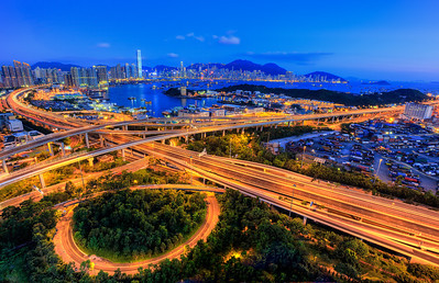 Hong Kong immediately after sunset, from Lai Chi Kok