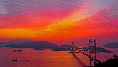Sunset over Tsing Ma Bridge, Hong Kong