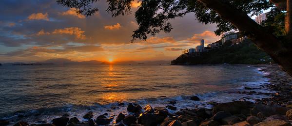 Sunset as seen from Hong Kong Island west
