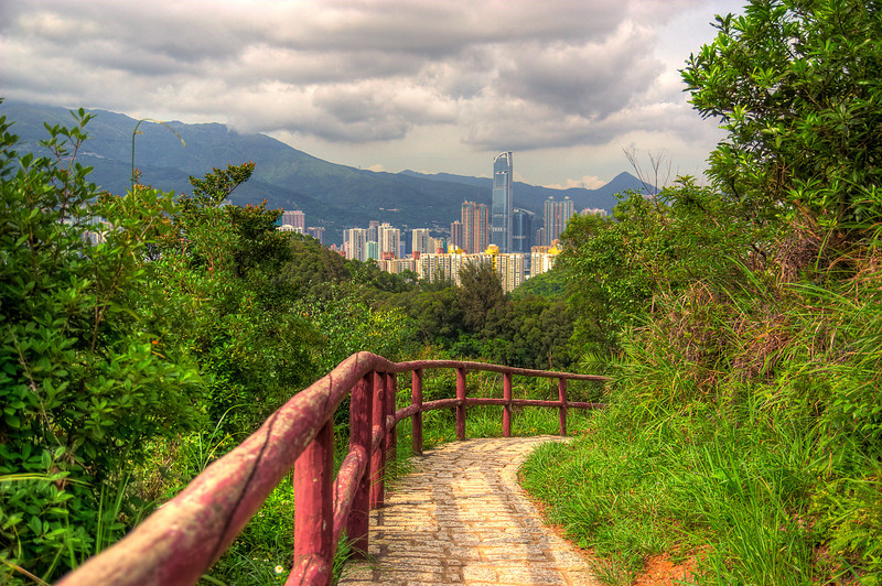 View of Nina and Teddy Towers in Tsuen Wan from a trail in Northwest Tsing Yi