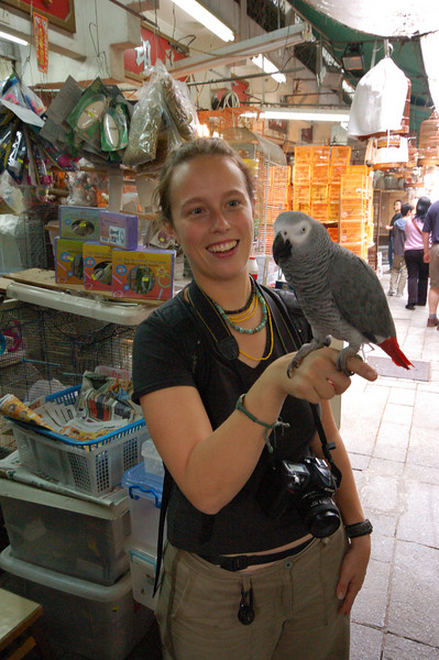 Emilie and the friendly parrot.