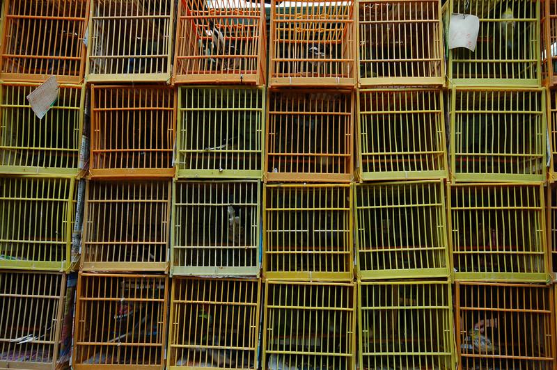 Bird cages at the Yuen Po St. Bird Market.