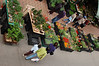 Top view of the flower market.