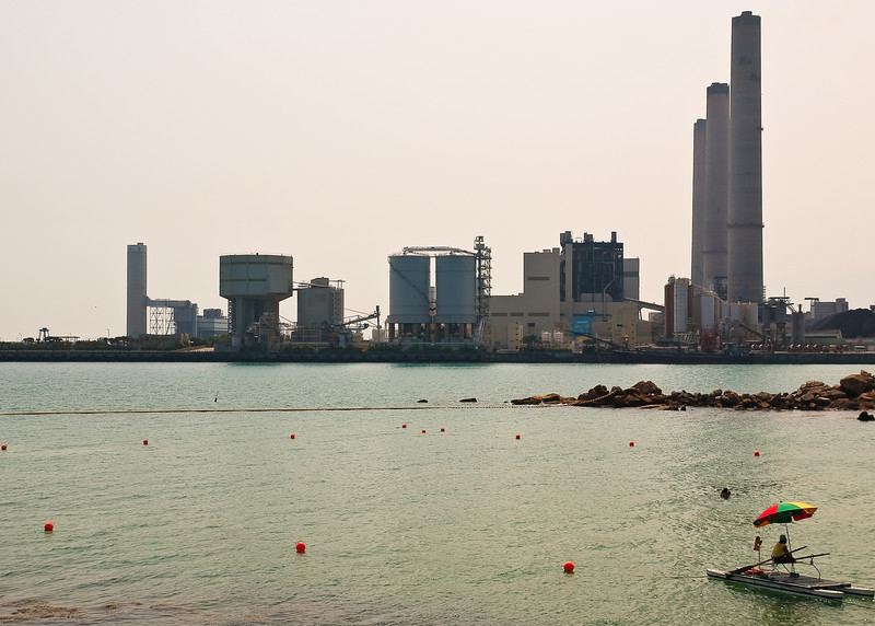 View of the power plant at Po Lo Tsui from Hung Shing Yeh Beach (near Yung Shue Wan)