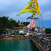 Bicycles and flags at the Yung Shue Wan Pier