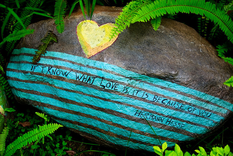 """Decorative rock in Ma Wan Park featuring a quote from Herman Hesse's """"Narcissus and Goldmund"""""""