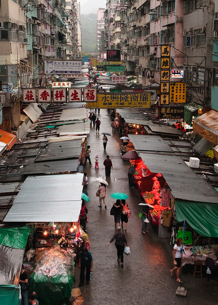 One of the many street markets in Mong Kok