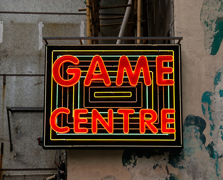 Sign for an arcade near the The Center Building in Central
