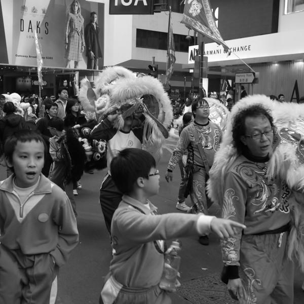 Lion dance participants of all ages.