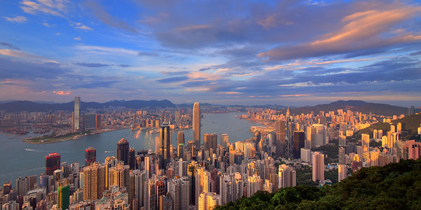 Sunset time over Victoria Peak