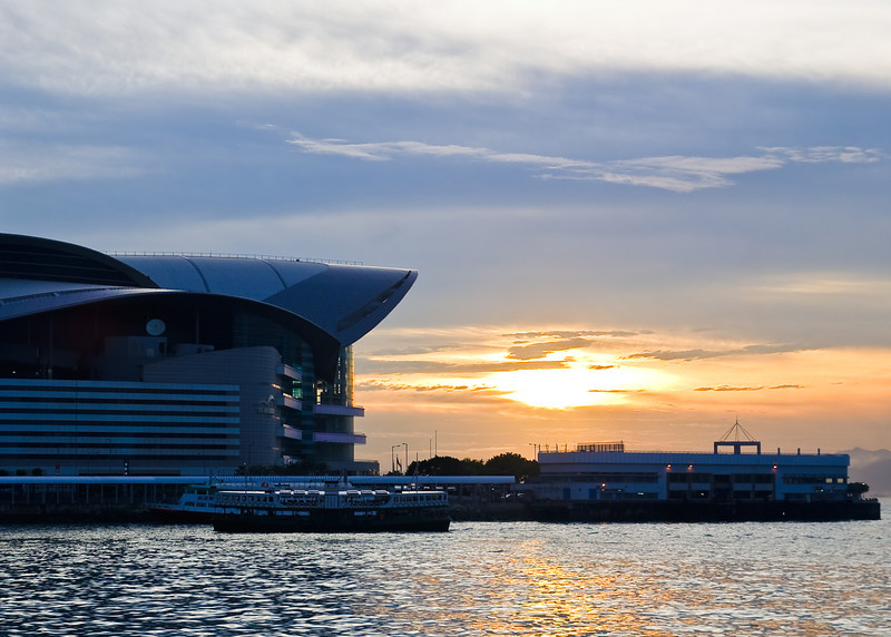 The Hong Kong Convention and Exhibition Center near sunset.