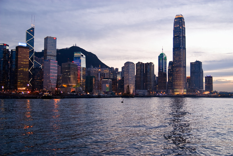 Dusk view of Central from The Hong Kong Exhibition and Convention Center.