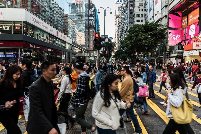 Bustling street in Hong Kong.