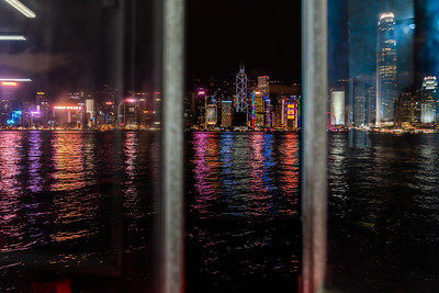 View of Hong Kong skyline at night.