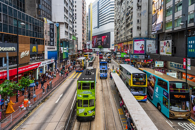 Trams and buses at Causeway Bay.