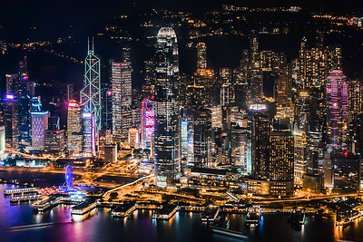View of Hong Kong Island skyline from above