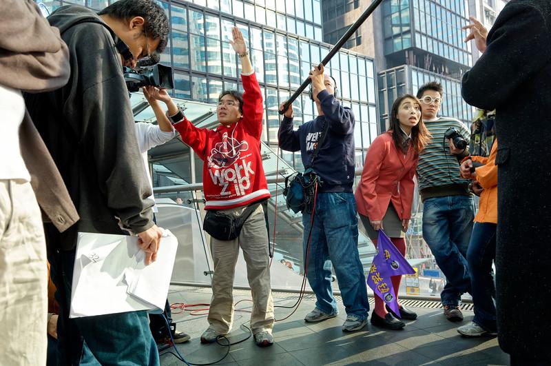 Tournage d'un épisode de série televisée dans le quartier de Central. Hong Kong/Chine