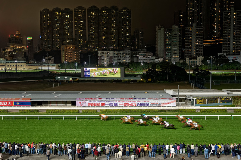 Course nocturne de chevaux à l'hippodrome de Happy Valley. Hong Kong/Chine