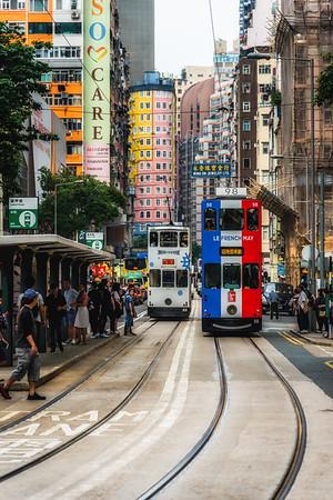 Double-decker trams in Hong Kong.