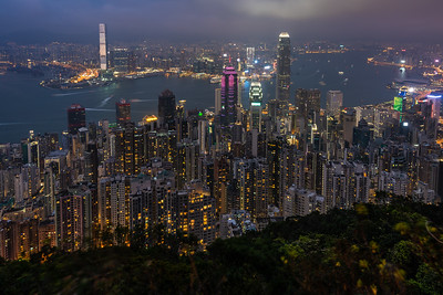View of Hong Kong skyline from The Peak at dusk.