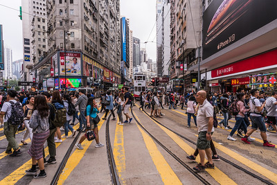 Busy crossing at Causeway Bay.