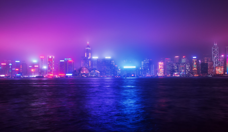Purple Beat<br /> I've seen Hong Kong only twice and both times it was foggy. It was very difficult to get the shot I want with all the low contrast visibility. Not to mention, I didn't have a tripod with me because it was checked in w/ my luggage.