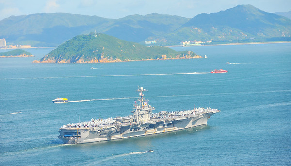USS George Washington sails into Hong Kong