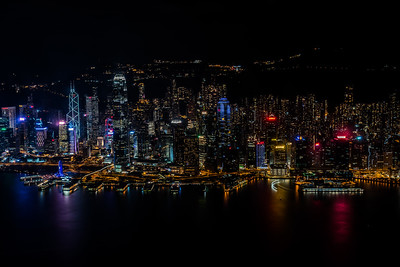 View of Hong Kong Island skyline at night