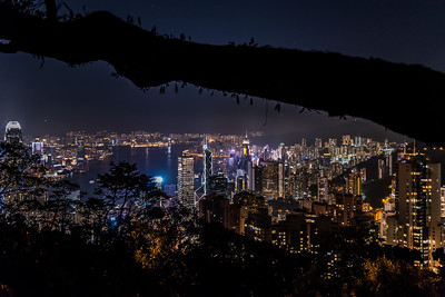 View of Hong Kong skyline at The peak.